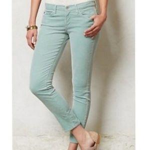 Ag Jeans Mint Green Stevie Slim Corduroys 26R